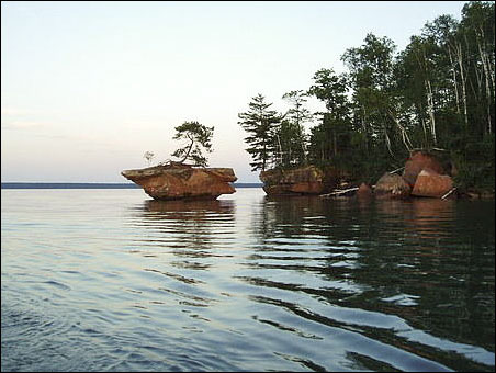 Honeymoon Rock in the Apostle Islands of Lake Superior.
